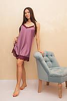 Женская ночная сорочка из шелка с лиловыми кружевами