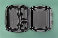 Ланч-бокс ЧЕРНЫЙ с крышкой, 3 деления из вспененного полистирола   240x210x70 мм.