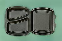 Ланч-бокс ЧЕРНЫЙ с крышкой, 2 деления из вспененного полистирола 240x210x70 мм.