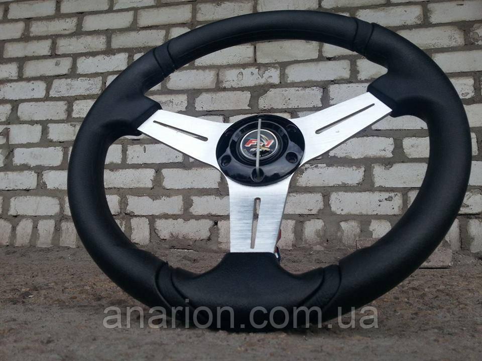 Руль спортивный №601 диаметр 35 см. с переходником на Ланос.