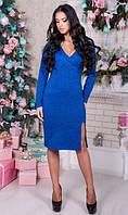 Красивое трикотажное платье синее