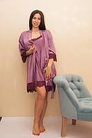 Халат женский шелковый с лиловыми кружевами