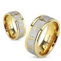 Парные кольца из стали с позолоченным ободком и крестами, в наличии жен. 16.5, 17.3, 19, муж. 19, 20, 20.7