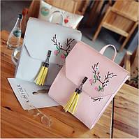 Рюкзак сумка с цветами и кисточкой