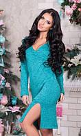 Красивое трикотажное платье бирюзовое