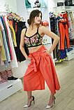 Брендовые женские брюки кюлоты красные Италия , фото 2