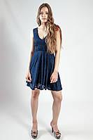 Платье женское гипюровое синее летнее