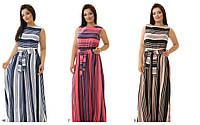 Платье сарафан в полоску длинное батального размера летнее платье тиасс р. 50-54