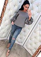 Женские молодежные джинсы с жемчугом