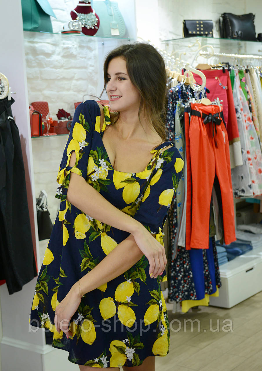 Женское платье короткое  с принтом  летнее