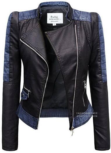 Куртка демисезонная женская эко-кожа с джинсовыми вставками