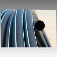 Труба полиэтиленовая, черная с синей полосой (6 атмосфер) Ø25; толщ.стенки 2 мм