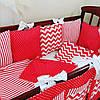 Комплект бортиков-подушек в детскую кроватку с постельным бельем
