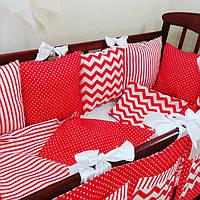 Комплект бортиков-подушек в детскую кроватку с постельным бельем, фото 1
