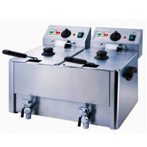 Фритюрниця з краном зливу HDF 8+8 Inoxtech (Італія)