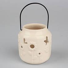 Подсвечник керамический молочный SF 1710-2