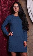 Платье из шерсти цвета джинс