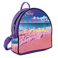 Фиолетовый женский городской рюкзак с принтом Лето