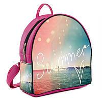 Розовый женский стильный рюкзак с принтом Лето