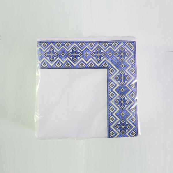 Салфетка сервировочная 33х33 2-сл. 50 листов Вышиванка синяя