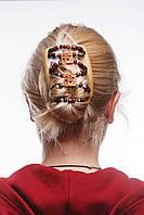 Заколка для волос  African butterfly Dupla на основе 2-х гребней бежевая