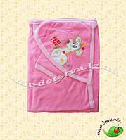 """Полотенце для купания для новорожденных """"Жирафик"""", Турция, оптом (желтый, розовый, голубой)"""