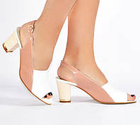Босоножки на каблуке Sev Mar S3605/23 бел+пудра