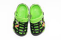 Обувь на лето для детей.  Черный/зеленый. (30-35)