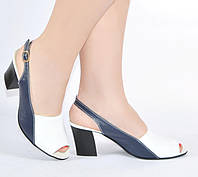 Босоножки на каблуке Sev Mar S3605 син+бел