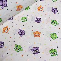 Детская фланель с разноцветными совушками и горохом на белом № 628