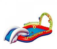 Игровой центр детский Слоник надувной с горкой и душем BestWay 53051