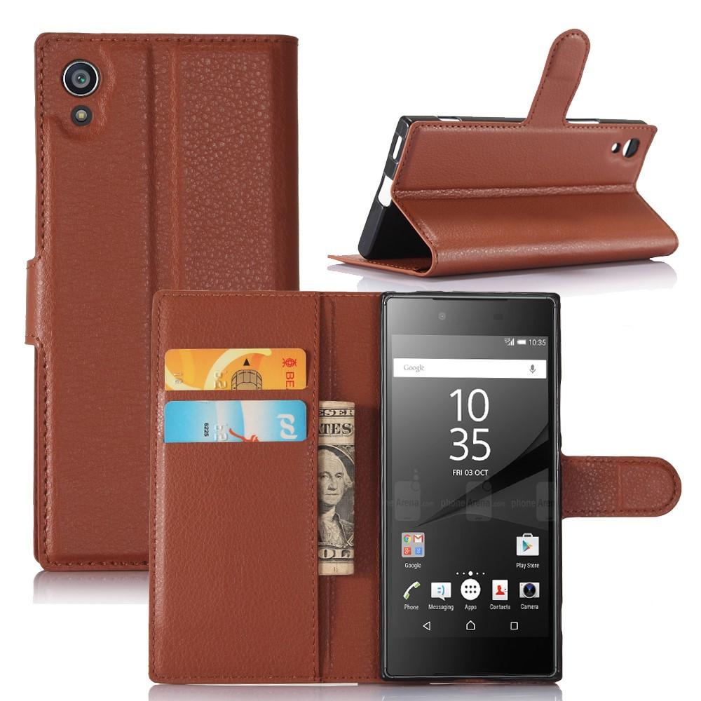 Чехол книжка для Sony Xperia XA1 G3112 боковой с отсеком для визиток, коричневый