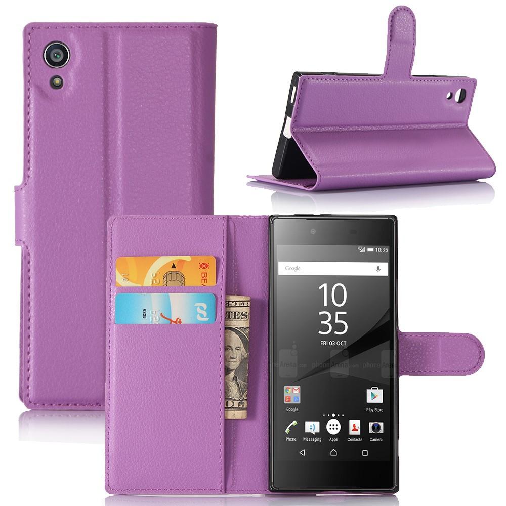 Чехол книжка для Sony Xperia XA1 G3112 боковой с отсеком для визиток, фиолетовый