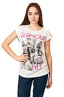 Яркая женская футболка с принтом свободного покроя р.46-48 H23-3