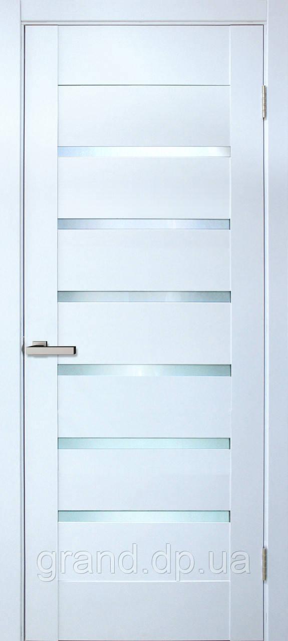 """Дверь межкомнатная """"Лагуна ПО ПВХ"""" с матовым стеклом, цвет белый"""