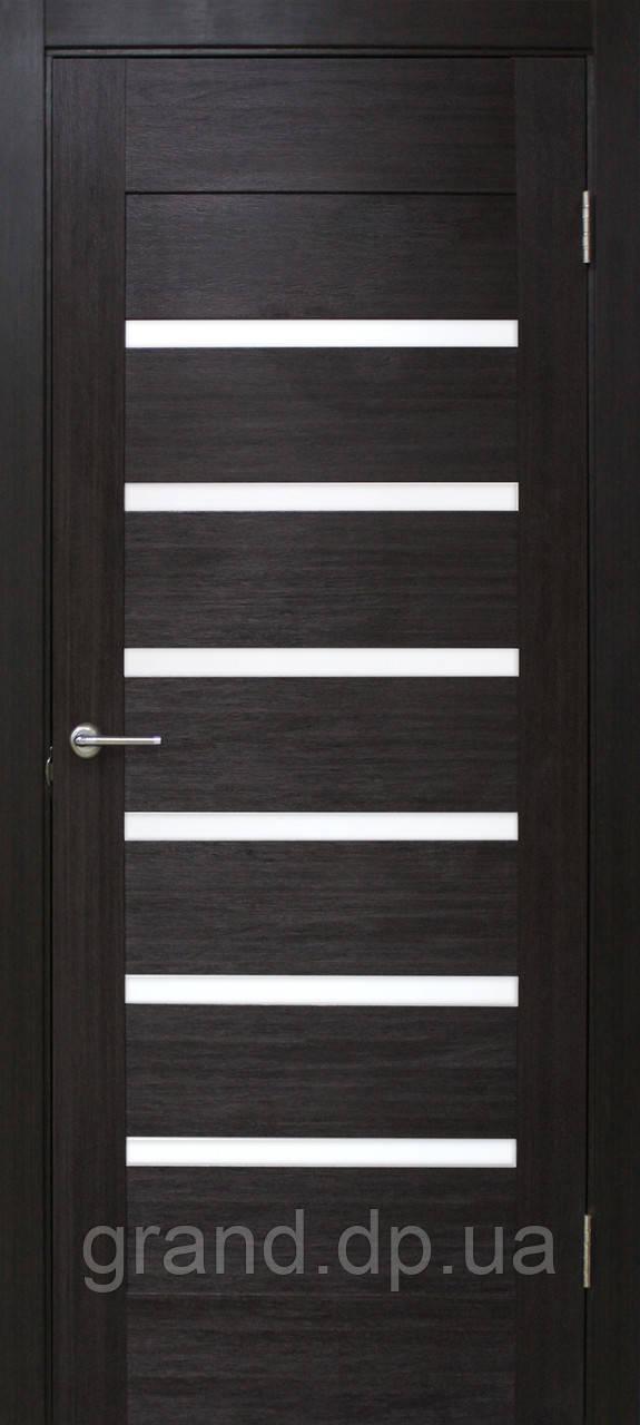 Двери межкомнатные Омис Лагуна ПО ПВХ с матовым стеклом, цвет венге