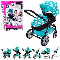 Коляска D-88845 для куклы, 38,5-54-65 см, 5в1 (стул для кормления, трансформер), корзина, в коробке, 58-37-19