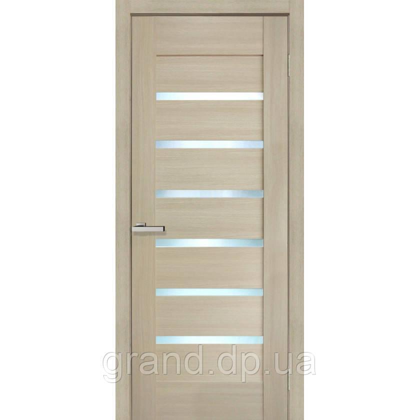 Двери межкомнатные Омис Лагуна ПО ПВХ с матовым стеклом, цвет дуб latte
