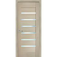 Двери межкомнатные Омис Лагуна ПВХ с матовым стеклом, цвет дуб latte