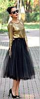 Юбка из фатина , фатиновая юбка длинная  черный, 44