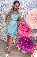 Нарядное женское кружевное платье материал котон и гипюр, с прозрачной спинкой. Цвет мята