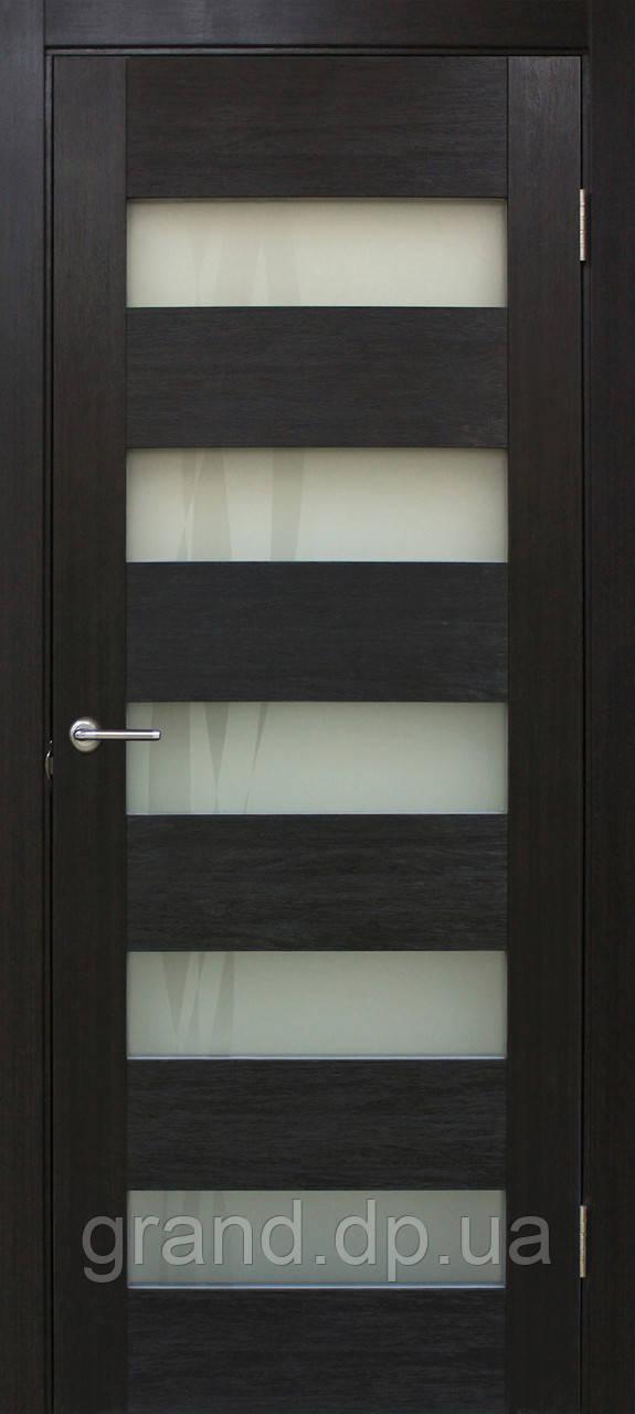 Двери межкомнатные Омис Форте лиана ПО ПВХ с матовым стеклом, цвет венге