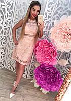 Нарядное женское кружевное платье материал котон и гипюр, с прозрачной спинкой. Цвет пудра
