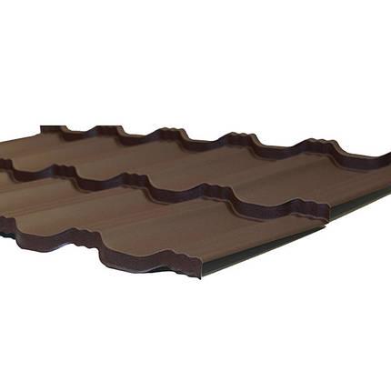 Модульна металлочерепиця Egeria - Poliester Mat (887 крупнозернистий шоколадний), фото 2