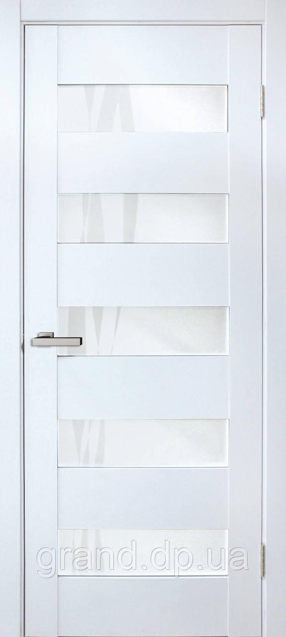 Двери межкомнатные Омис  Форте лиана ПО ПВХ  с матовым стеклом, цвет матовый белый