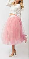 Юбка из фатина , фатиновая юбка длинная  Персиковый, 46