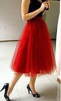 Юбка из фатина , фатиновая юбка длинная  красный, 44
