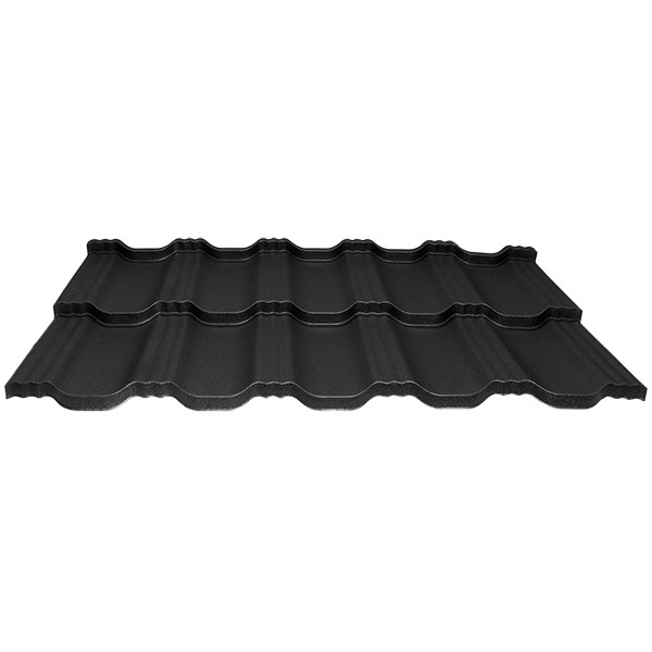 Модульна металлочерепиця Egeria - Poliester Mat (33 крупнозернистий чорний)