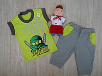 """Детский летний костюм """"Нинзяго"""" для мальчика серо-салатовый р.92-98"""