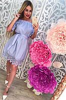 Легкое летнее платье без бретелей материал хлопок, украшено красивым кружевом. Цвет светло сиреневый